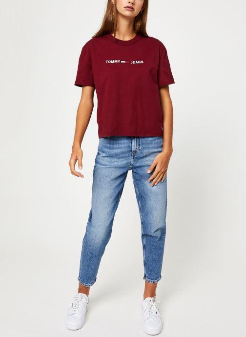 Vêtements Tommy Jeans TJW CLEAN LINEAR LOGO TEE Bordeaux vue bas / vue portée sac