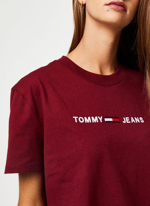 Vêtements Tommy Jeans TJW CLEAN LINEAR LOGO TEE Bordeaux vue face