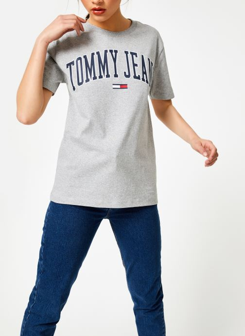Kleding Tommy Jeans TJW COLLEGIATE LOGO TEE Grijs rechts