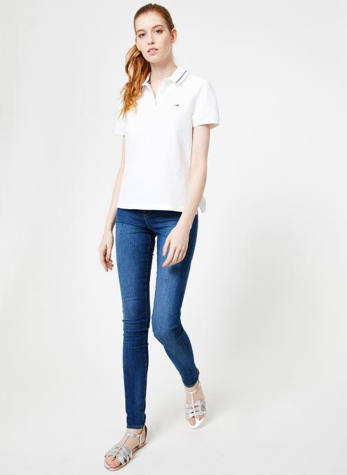 Vêtements Tommy Jeans TJW TOMMY CLASSICS POLO Blanc vue bas / vue portée sac