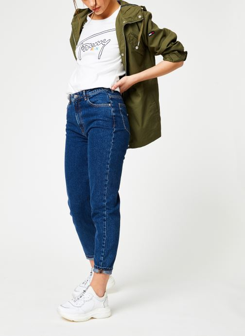 Vêtements Tommy Jeans TJW ESSENTIAL COTTON JACKET Vert vue bas / vue portée sac