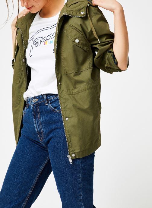 Vêtements Tommy Jeans TJW ESSENTIAL COTTON JACKET Vert vue droite