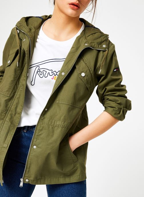 Vêtements Tommy Jeans TJW ESSENTIAL COTTON JACKET Vert vue détail/paire