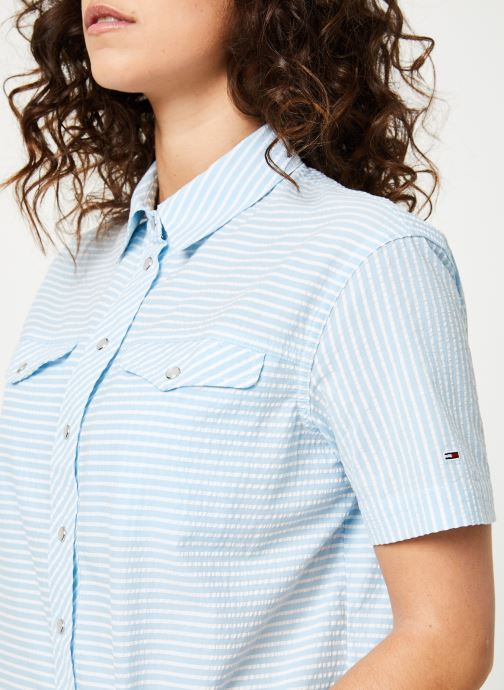 Vêtements Tommy Jeans TJW SEERSUCKER STRIPE SHIRT Multicolore vue face