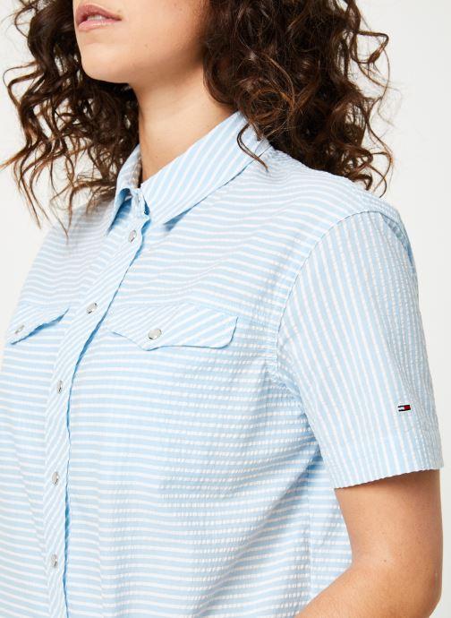 Vêtements Tommy Jeans TJW SEERSUCKER STRIPE SHIRT Multicolore vue face