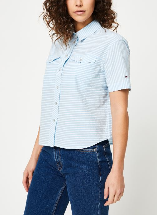 Vêtements Tommy Jeans TJW SEERSUCKER STRIPE SHIRT Multicolore vue droite