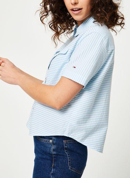 Vêtements Tommy Jeans TJW SEERSUCKER STRIPE SHIRT Multicolore vue détail/paire
