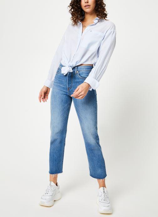 Kleding Tommy Jeans TJW DRAPEY STRIPE LONGSLV SHIRT Blauw onder