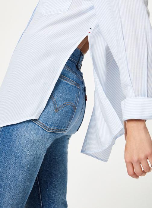 Kleding Tommy Jeans TJW DRAPEY STRIPE LONGSLV SHIRT Blauw voorkant