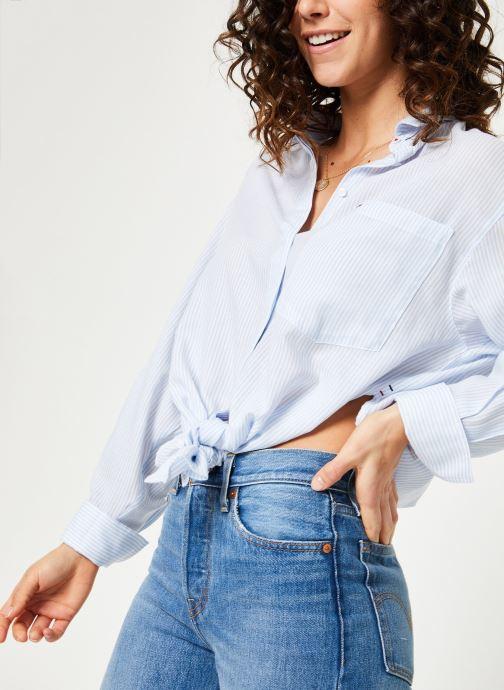 Kleding Tommy Jeans TJW DRAPEY STRIPE LONGSLV SHIRT Blauw detail