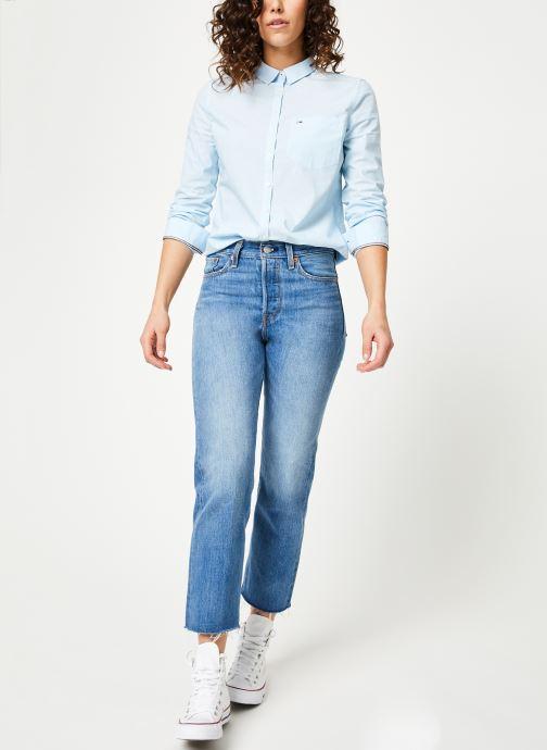 Vêtements Tommy Jeans TJW REGULAR STRIPE POPLIN SHIRT Bleu vue bas / vue portée sac