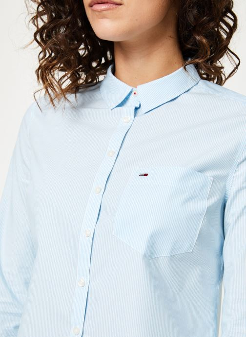 Vêtements Tommy Jeans TJW REGULAR STRIPE POPLIN SHIRT Bleu vue face