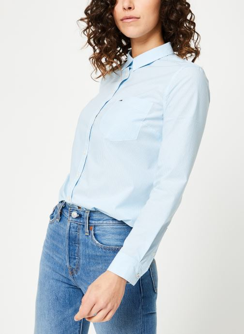 Vêtements Tommy Jeans TJW REGULAR STRIPE POPLIN SHIRT Bleu vue droite