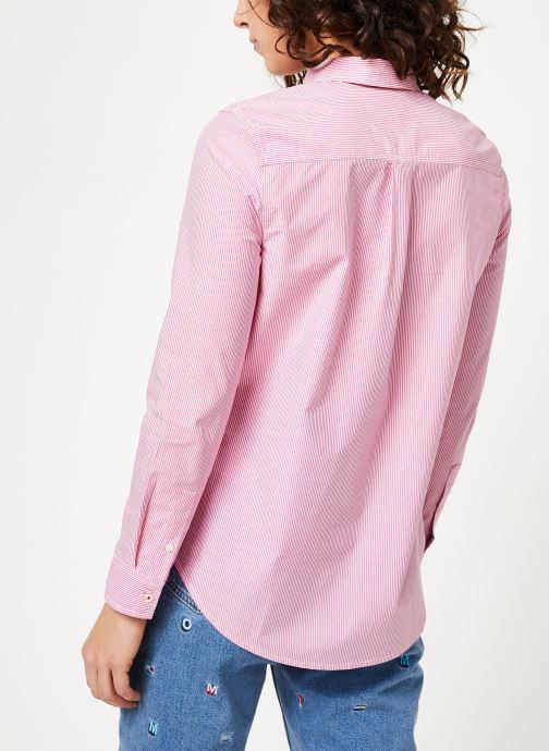 Kleding Tommy Jeans TJW REGULAR STRIPE POPLIN SHIRT Roze model