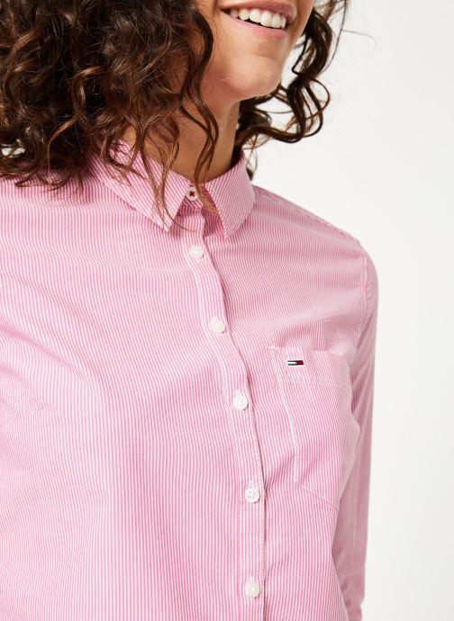 Kleding Tommy Jeans TJW REGULAR STRIPE POPLIN SHIRT Roze voorkant
