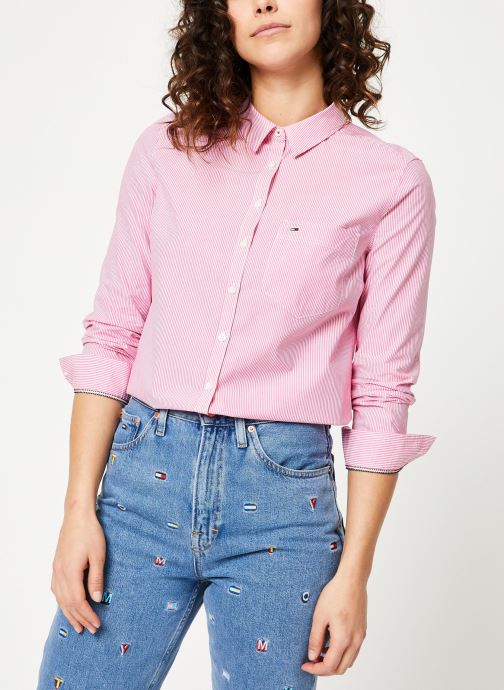 Kleding Tommy Jeans TJW REGULAR STRIPE POPLIN SHIRT Roze rechts