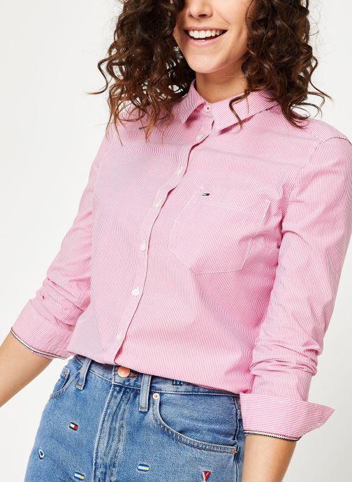 Kleding Tommy Jeans TJW REGULAR STRIPE POPLIN SHIRT Roze detail