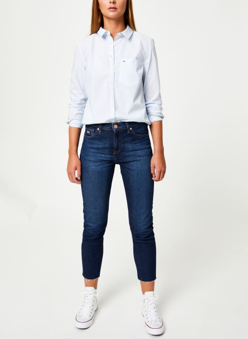 Vêtements Tommy Jeans TJW REGULAR STRIPE POPLIN SHIRT Blanc vue bas / vue portée sac