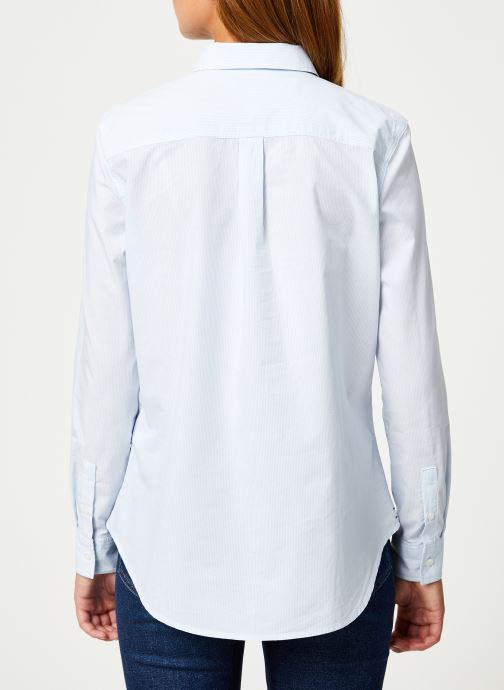 Vêtements Tommy Jeans TJW REGULAR STRIPE POPLIN SHIRT Blanc vue portées chaussures