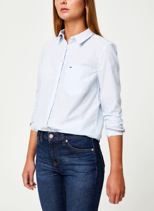 Tøj Tommy Jeans TJW REGULAR STRIPE POPLIN SHIRT Hvid Se fra højre