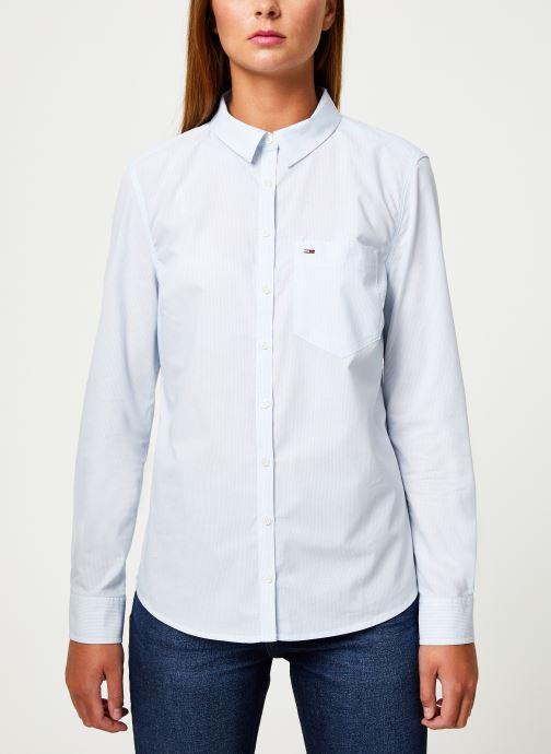 Tøj Tommy Jeans TJW REGULAR STRIPE POPLIN SHIRT Hvid detaljeret billede af skoene