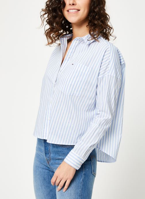 Vêtements Tommy Jeans TJW COPPRED BOXY MULTI SHIRT Bleu vue droite