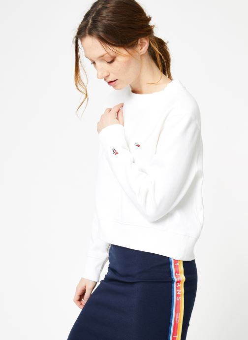 Ropa Tommy Jeans TJW SIDE SEAM DETAIL CREW Blanco vista lateral derecha