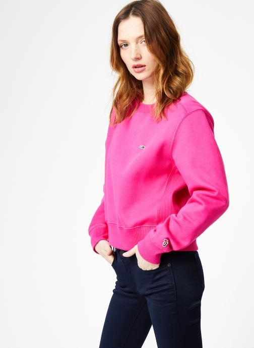 Kleding Tommy Jeans TJW SIDE SEAM DETAIL CREW Roze rechts