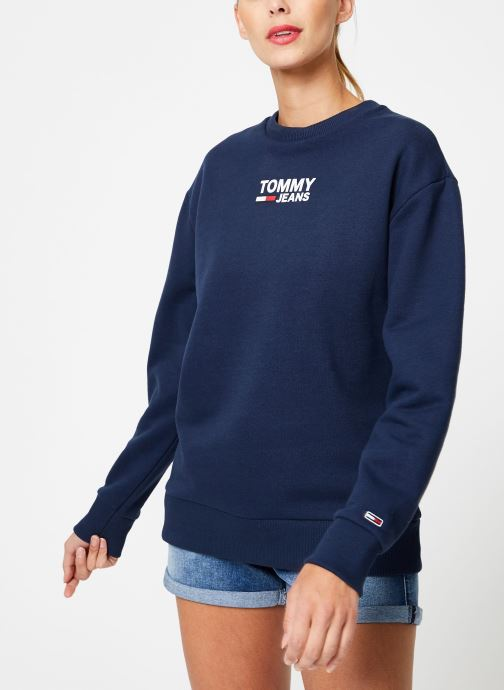 Kleding Tommy Jeans TJW BOLD TOMMY CREW Blauw rechts
