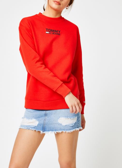 Kleding Tommy Jeans TJW BOLD TOMMY CREW Rood rechts