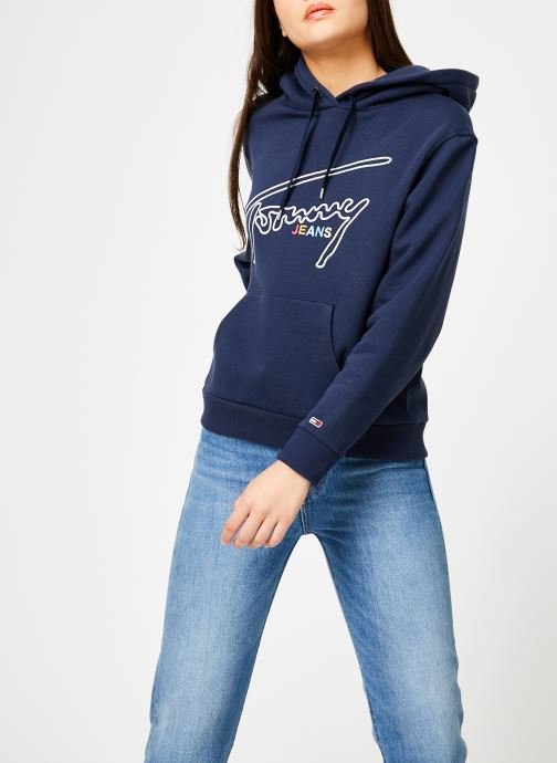 Kleding Tommy Jeans TJW TOMMY SIGNATURE HOODIE Blauw rechts