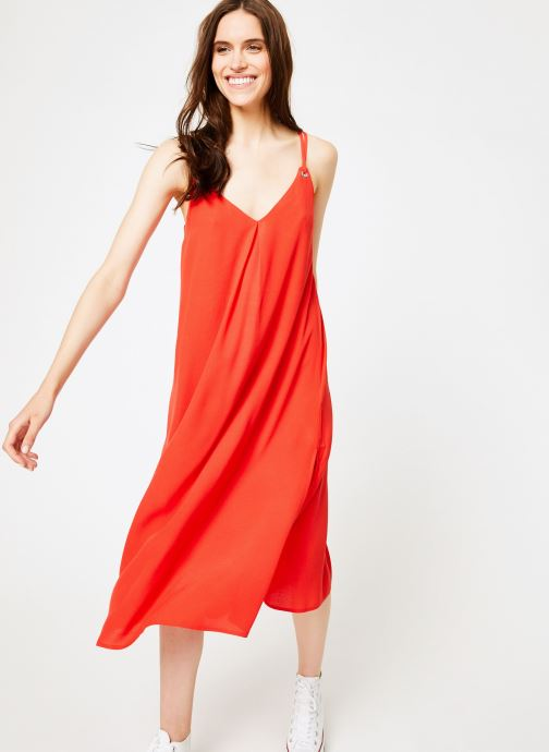 Vêtements Tommy Jeans TJW MIDI STRAP DRESS Rouge vue détail/paire