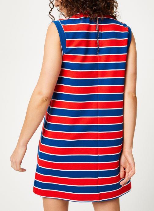 Vêtements Tommy Jeans TJW A-LINE STRIPE DRESS Multicolore vue portées chaussures