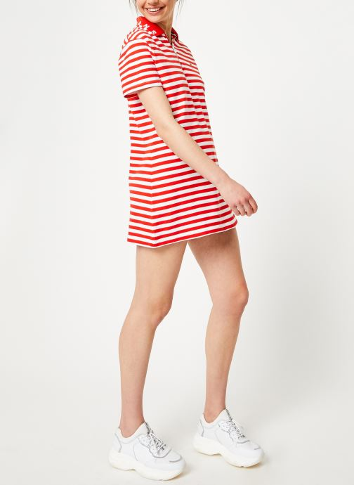 Kleding Tommy Jeans TJW ESSENTIAL STRIPE POLO DRESS Rood onder