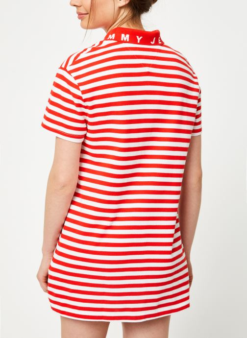 Kleding Tommy Jeans TJW ESSENTIAL STRIPE POLO DRESS Rood model