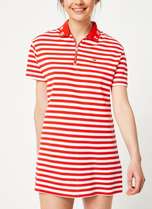 Kleding Tommy Jeans TJW ESSENTIAL STRIPE POLO DRESS Rood rechts