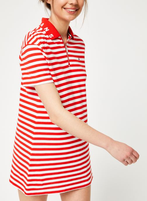 Kleding Tommy Jeans TJW ESSENTIAL STRIPE POLO DRESS Rood detail