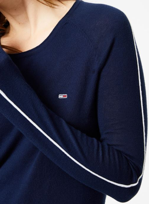 Vêtements Tommy Jeans TJW CONTRAST PIPPING SWEATER Bleu vue face