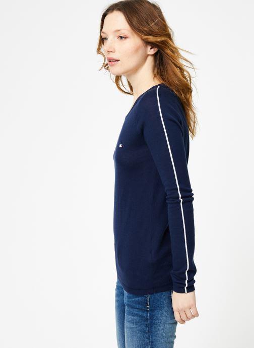 Vêtements Tommy Jeans TJW CONTRAST PIPPING SWEATER Bleu vue droite
