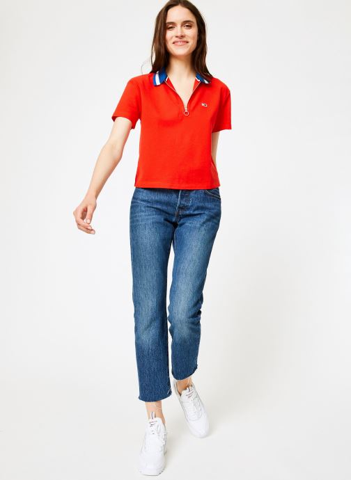 Kleding Tommy Jeans TJW TOMMY BRANDED COLLAR POLO Rood onder