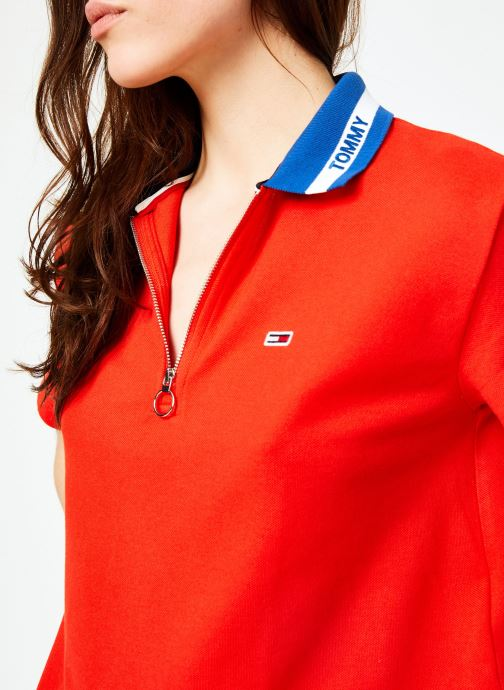 Kleding Tommy Jeans TJW TOMMY BRANDED COLLAR POLO Rood voorkant