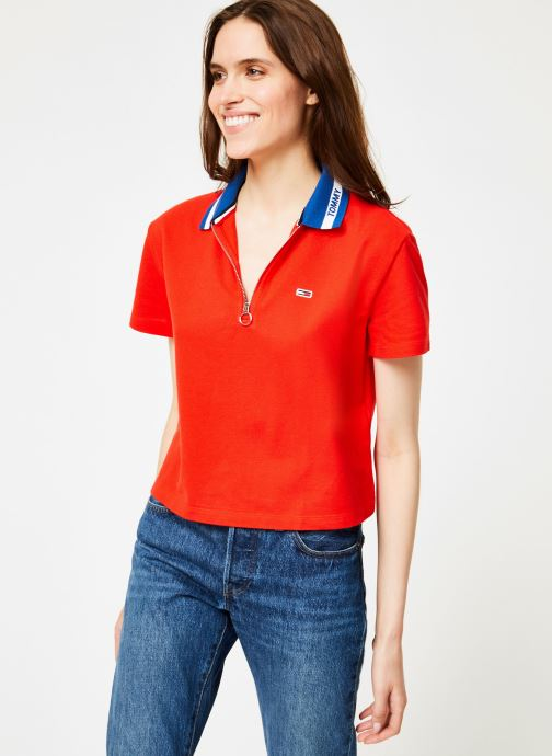 Kleding Tommy Jeans TJW TOMMY BRANDED COLLAR POLO Rood rechts