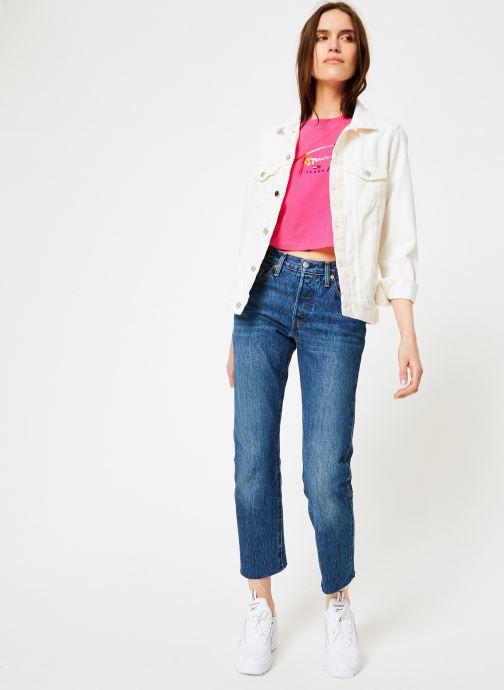 Vêtements Tommy Jeans TJW COPPED TOMMY SCRIPT TEE Rose vue bas / vue portée sac