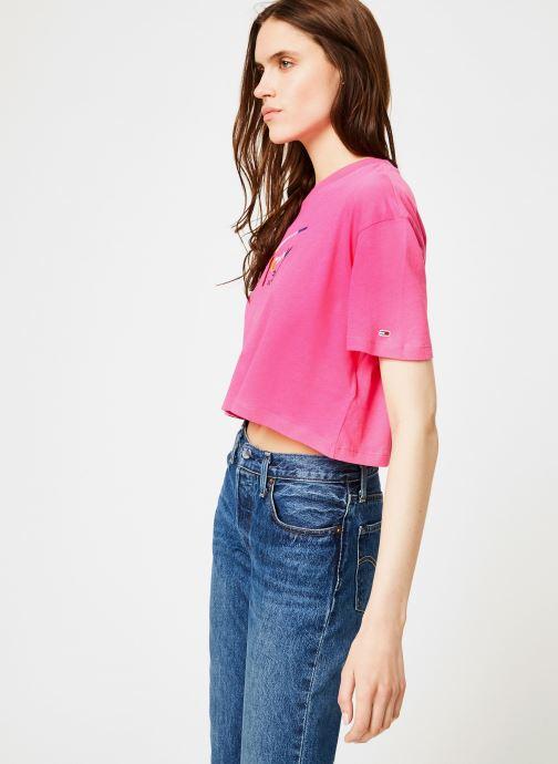 Vêtements Tommy Jeans TJW COPPED TOMMY SCRIPT TEE Rose vue droite