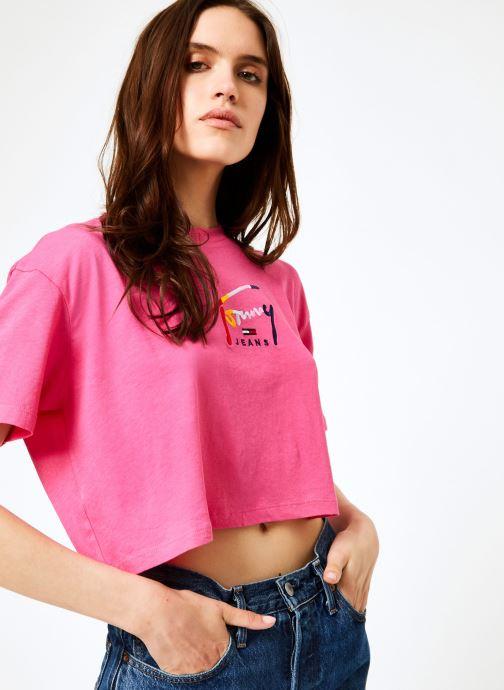 Vêtements Tommy Jeans TJW COPPED TOMMY SCRIPT TEE Rose vue détail/paire
