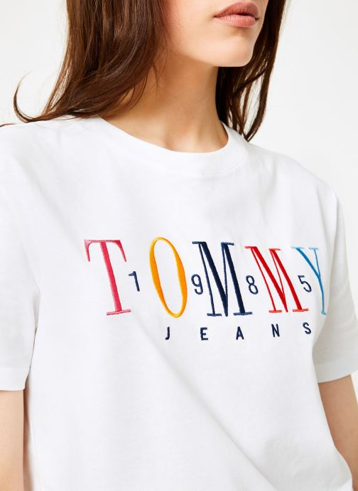Vêtements Tommy Jeans TJW 1985 EMBROIDERY TEE Blanc vue face