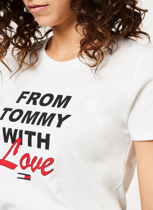 Kleding Tommy Jeans TJW TOMMY WITH LOVE TEE Wit voorkant