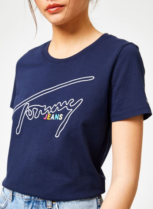 Vêtements Tommy Jeans TJW OUTLINE SIGNATURE TEE Bleu vue détail/paire