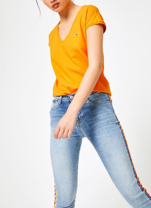 Vêtements Tommy Jeans TJW ESSENTIAL V-NECK TEE Jaune vue droite