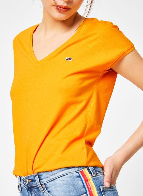 Vêtements Tommy Jeans TJW ESSENTIAL V-NECK TEE Jaune vue détail/paire
